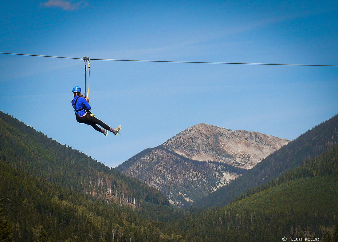 Zooming through the trees at high speeds on a zip line is a great alternative to hiking at Kokanee Glacier Park.