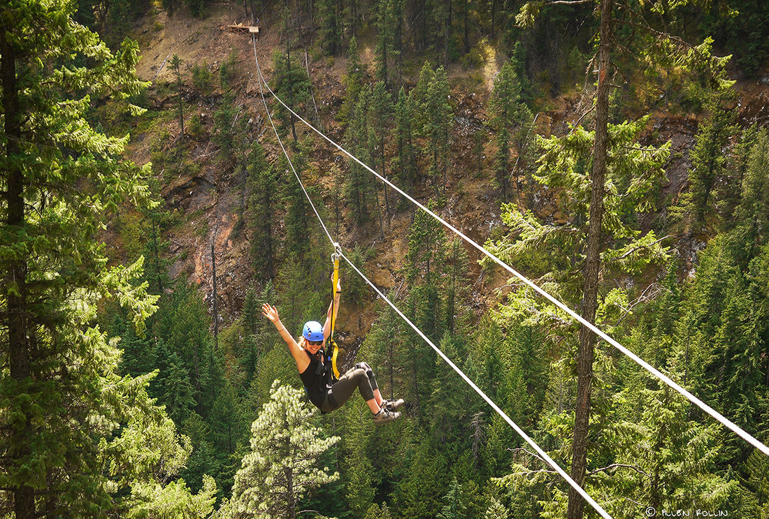 Your smile will be inescapable as you zipline above old-growth forest and with views of the Kokanee Glacier.