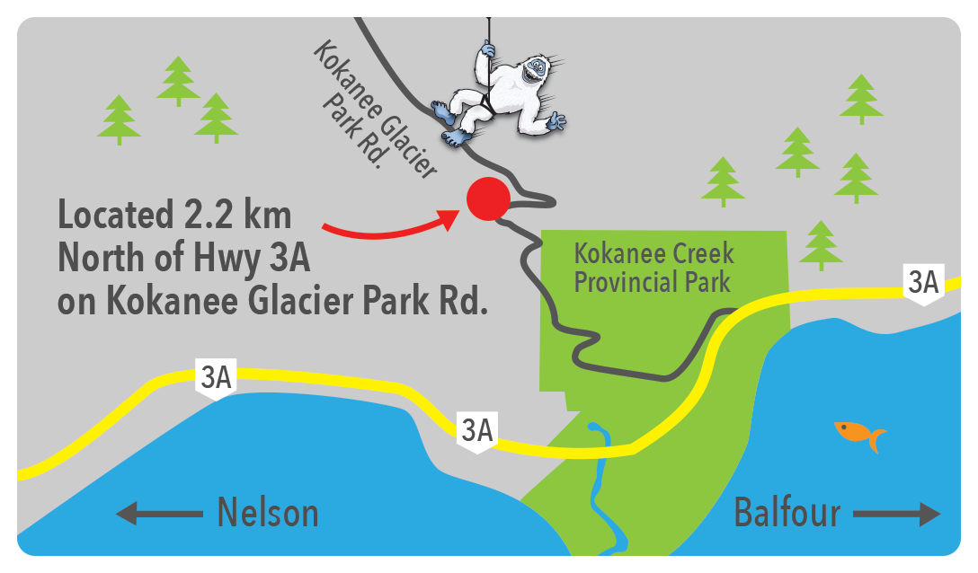 Kokanee Mountain Zipline is located 2.2km North of Hwy 3A on Kokanee Glacier Park Road